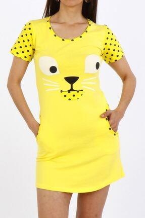 Nicoletta Sarı Kadın Tunik Ev Elbisesi Kısa Kollu Cepli