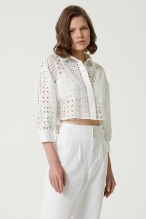 Network Kadın Basic Fit Beyaz İngiliz Yaka Güpür Gömlek 1079502
