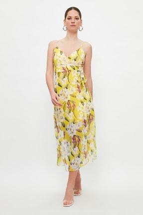 TRENDYOLMİLLA Sarı Çiçek Desenli Elbise TWOSS19EL0107