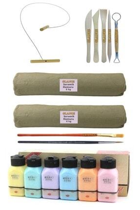 GLANCE Beyaz Seramik Hamuru 6x2 Kg Kil Kesme Teli 5'li Ebeşuar Artdeco Akrilik Boya 6x75 ml Pastel Renkler