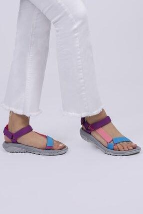 Female Project Kadın Mor Pembe Turkuaz Gri Cırtlı Sandalet