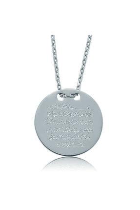 Gumush Gümüş Ayetel Kürsi Yazılı Plaka Bayan Kolye