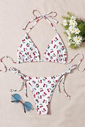 Pembishomewear Kadın Beyaz Cherry Bikini Takımı