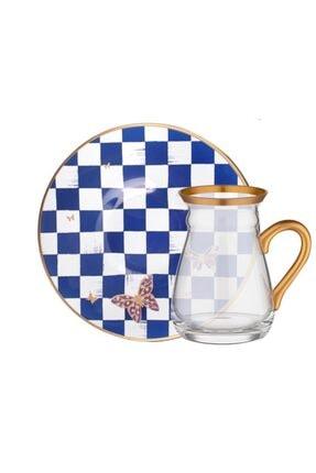 Glore Emma Kobalt Kulplu Çay Seti 6 Kişilik