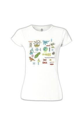 Lord T-Shirt Kadın Beyaz Biyoloji - DNA Tshirt - BB-667