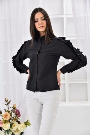 Modkofoni Kadın Siyah Kolları Uzun Ve Fırfır Desenli Gömlek