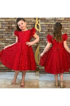 Pumpido Kız Çocuk Kırmızı  Güpürlü  Elbise