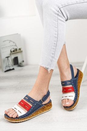 Deripabuc Hakiki Deri Lacivert Kadın Deri Sandalet Dp16-0305