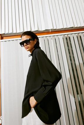 rue. Kadın Siyah Dekolte Detaylı Gömlek 11121032_SIYAH