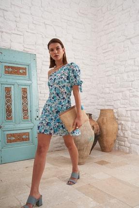 Eka Kadın Mint Çiçek Desenli Fırfır Detaylı Tek Omuzlu Elbise 0990-21067