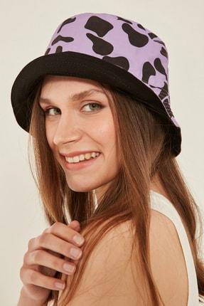 Y-London 14018 Inek Desenli Çift Taraflı Lila-siyah Bucket Şapka