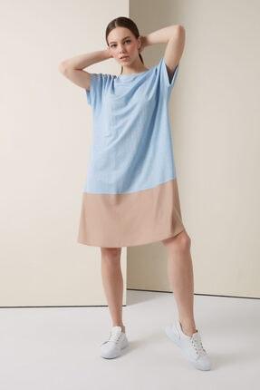 Gusto Iki Renkli Penye Elbise - Mavi