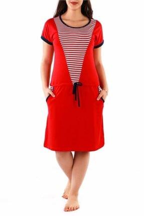 Nicoletta Kırmızı Kadın Tunik Gecelik Kısa Kollu Cepli