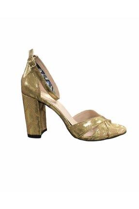 Pierre Cardin Kadın Altın Kalın Topuklu Ayakkabı 54010