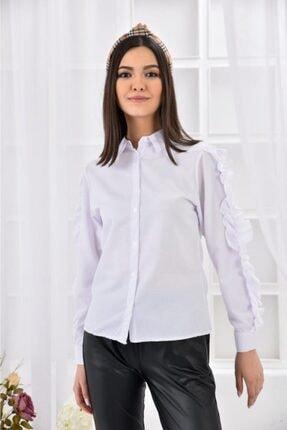Modkofoni Kolları Uzun Ve Fırfır Desenli Beyaz Gömlek