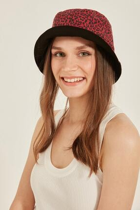Y-London 14017 Leopar Desenli Çift Taraflı Kırmızı Bucket Şapka