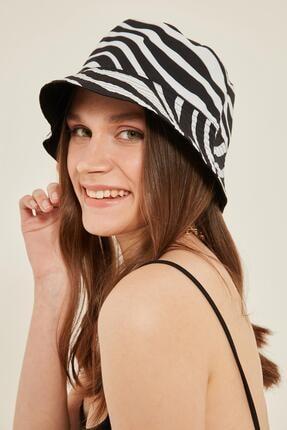 Y-London 14033 Çift Taraflı Zebra Desenli Siyah Bucket Şapka