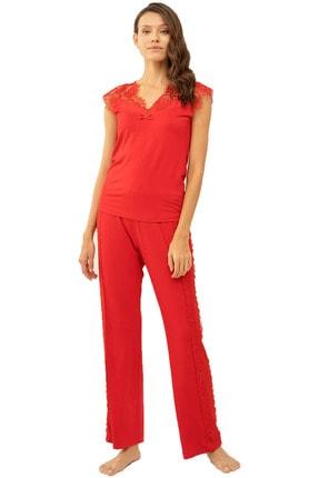 Feyza Pijama Dantel Detaylı Sıfır Kol Yazlık Kırmızı Pijama Takımı