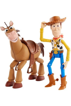 Toy Story Woody Ve Bullseye Oyuncak Atı - 2 Karakterli Paketi - Filmindeki Gerçek Ölçülerde