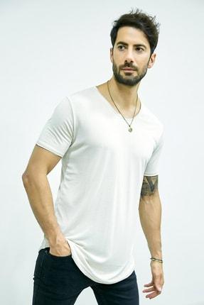 Sateen Men Erkek Taş Kısa Kol Long Kesim Basic T-Shirt