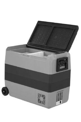 Fridgers 60lt Araç Buzdolabı Lg Kompresör 12/24v 220v Çift Kabin Sıcaklık Ayarı, Tekerli
