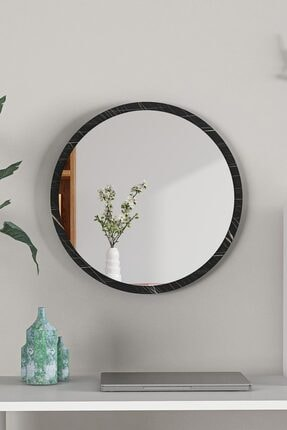 bluecape Yuvarlak Siyah Mermer Desenli Duvar Salon Ofis Aynası 45 cm
