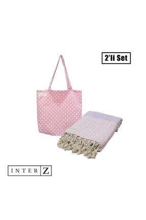INTER Z 2'li Set Plaj Havlusu Ve Plaj Çantası, Pembe-pembe Lila-marmaris