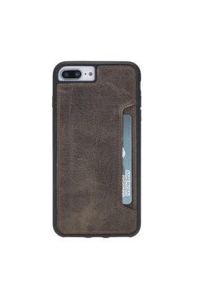 PLM Flex Cover Cc Deri Telefon Kılıfı Kartlıklı Iphone 7-ip8 Plus Ro6 Kahve
