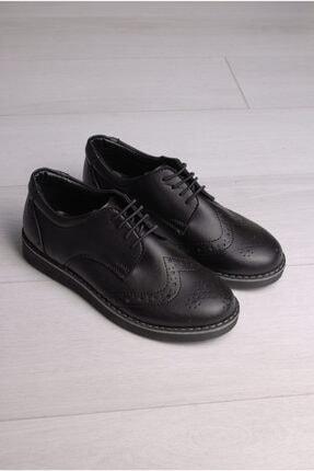 Rıdvan Çelik Erkek Çocuk Siyah Cilt Bağcıklı Klasik Ayakkabı