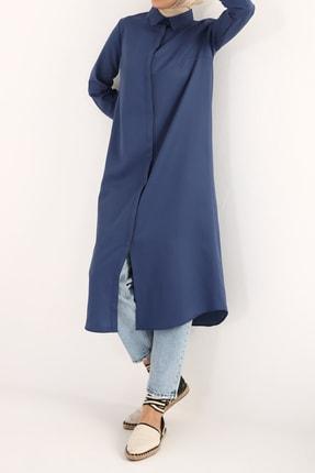 ALLDAY Koyu Mavi Pamuklu Uzun Gömlek
