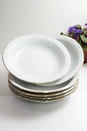Porland Porselen Çukur Tabak 6'lı Altın Yaldızlı 19 cm