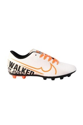 Walked 433 Beyaz Turuncu Krampon Çim Erkek Futbol Ayakkabı