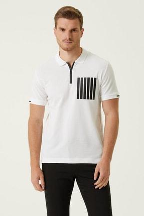 Network Erkek Slim Fit Beyaz Polo Yaka T-shirt 1078317