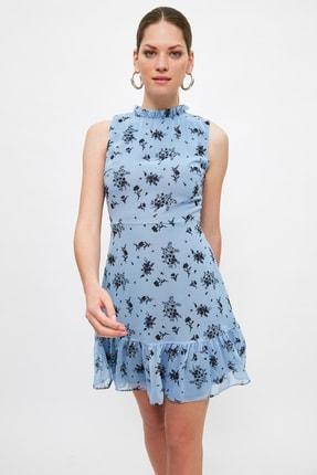 TRENDYOLMİLLA Lila Desenli Fırfırlı Elbise TWOSS20EL0681