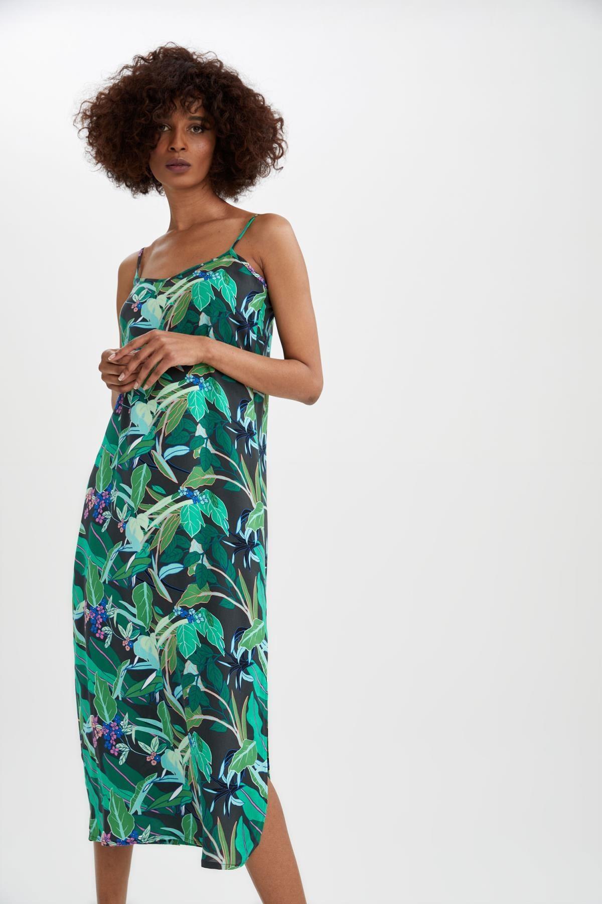 DeFacto Askılı Desenli Midi Yazlık Elbise
