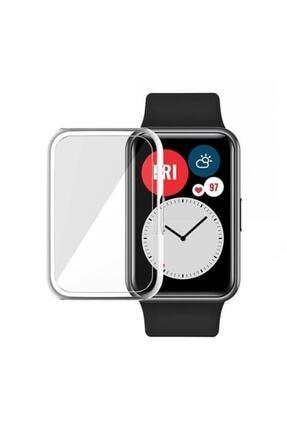 GTC Huawei Watch Fit Akıllı Saat Uyumlu Önü Kapalı Tasarım Şeffaf Silikon Kılıf