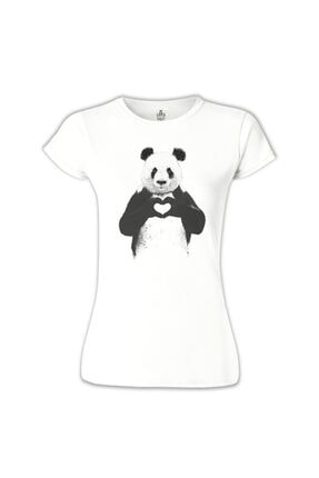 Lord T-Shirt Kadın Beyaz Panda - All u Need Tshirt BB-650