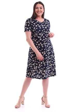 Alesia Kadın Papatya Desenli Kısa Kol Elbise
