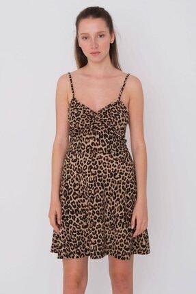 Addax Kadın Leopar Desenli Elbise E1174 - G13