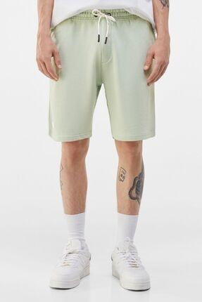 Bershka Erkek Yeşil Penye Jogging Fit Bermuda Şort