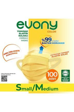 Evony Color Sarı Yumuşak Elastik Kulaklı Maske 100 Adet