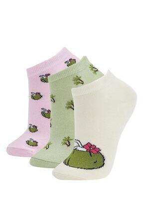 DeFacto Kadın Çok Renkli Desenli 3'Lü Patik Çorap T7420AZ21SPKR