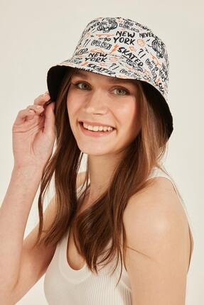 Y-London 14026 Çift Taraflı Yazılı Beyaz Bucket Şapka