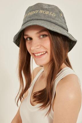 Y-London 14028 Gold Simli Kot Kumaş Bucket Şapka