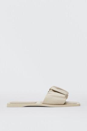 Massimo Dutti Kadın Ekru Düz Deri Sandalet 11784850