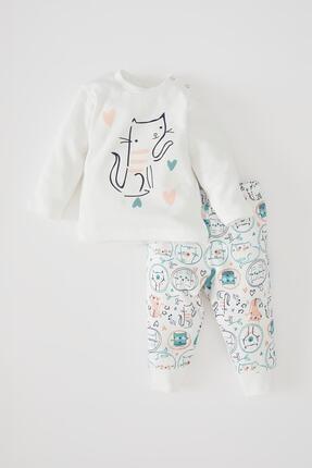 DeFacto Kız Bebek Baskılı Uzun Kollu Pamuklu Tişört Ve Alt Takımı