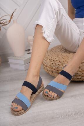 Daxtors Kadın Gri Günlük Ortopedik Şeritli Sandalet D035