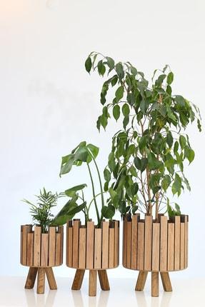 Hakan Mobilya Çam Rengi Ahşap Ayaklı 3'lü Kale Model Saksı Seti Dekoratif Çiçeklik Balkon Bahçe Aksesuarı