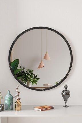 bluecape Yuvarlak Siyah Mermer Desenli Duvar Salon Ofis Aynası 60 cm