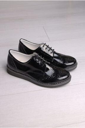 Rıdvan Çelik Erkek Çocuk Siyah Rugan Bağcıklı Klasik Ayakkabı